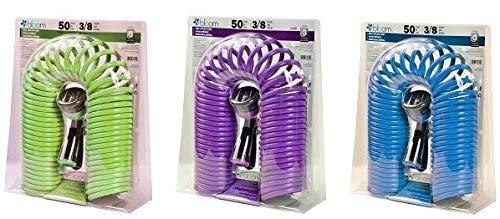 BLOOM 70285BL 7-Pattern Spray Nozzle Self-Coil Garden Hose 5-Pack GreenBluePurple
