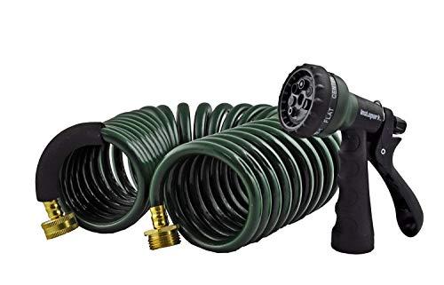 Instapark GHN-06-25 Heavy-Duty EVA Recoil Garden Hose 25ft with 7-Pattern Spray Nozzle Green 25 Foot Renewed
