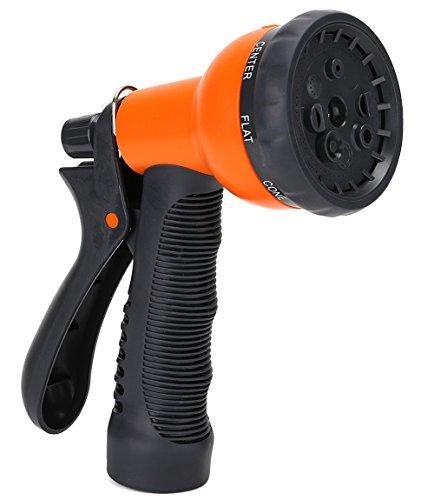 """1 Best Recommended Garden Hose Nozzle - GrowGreenâ""""¢ 8-Way High Pressure Sprayer Water Hose Nozzle - Best Hand Sprayer With Convenient Grip Orange"""