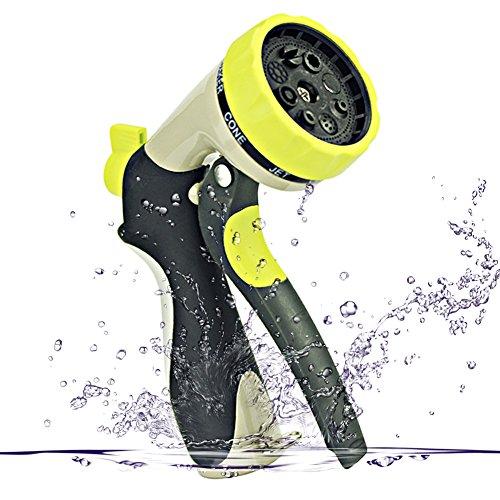 Gada Garden Hose Nozzle - Hand Spray Nozzle 8 Adjustable Pattern Pistol Grip Front Trigger Water NozzleHeavy Duty Metal Construction - Slip Resistant