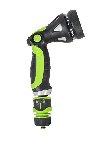 Garden Hose Spray Nozzle - Thumb Control 8 Pattern Lawn Watering Sprayer - Adjustable Water Pressure Heavy Duty Cleaning Gun