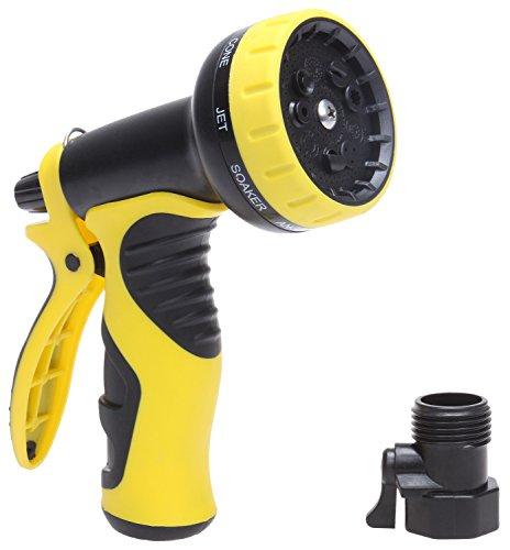 Kmm Heavy Duty Garden Water Hose Nozzle 9 Adjustable Settings Sprayer Nozzles With Free Detachable Shutoff Valve