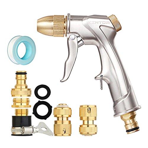 Water Hose Nozzle Sprayer Kit Pistol Grip Front Trigger Brass Car Wash Gun Heavy Duty Adjustable Pattern Garden