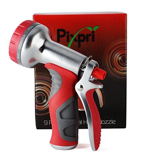 Pixpri Garden Hose Nozzlendash Pistol Grip Rear Triggerndash Heavy Duty Metal 9-pattern Water Sprayer For Watering