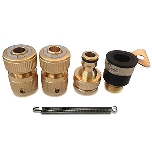 NUZAMAS Set of 4 Solid Brass Garden Hose Adaptors Lawn Water Hose Pipe Fitting Set Connectors Tap Adaptors
