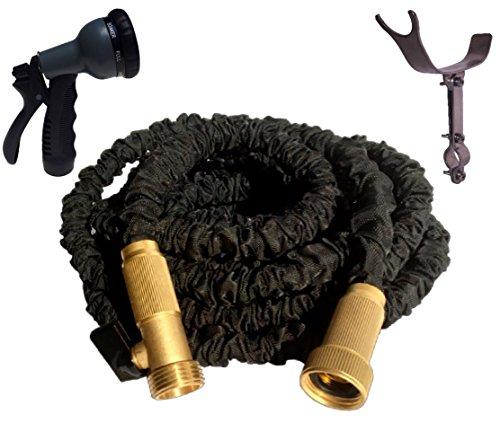 50 Foot Black Expandable Garden Hose Strongest Expanding Garden Hose Solid Brass Fittings Stainless Steel Holder