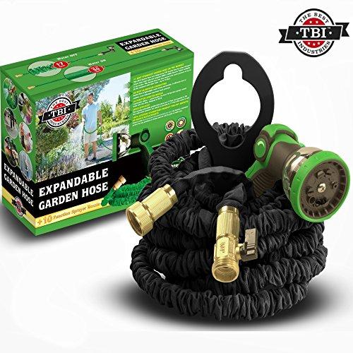 Tbi Garden Hose 50 Foot - Best Expandable Water Hoses Set Dap Pro 10-way Spray Nozzle - Strongest Lightweight