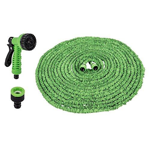 25 50 75 100 125 150 Ft Expanding Expandable Flexible Garden Water Hose Pipe w Spray Nozzle Gun 150FT45M Green