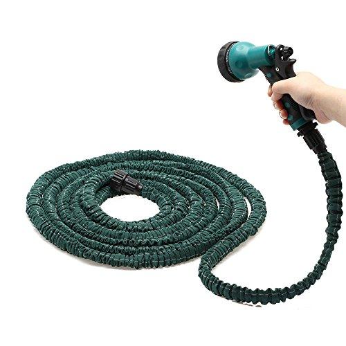 Deluxe 25 50 75 100 Feet Expandable Flexible Garden Water Hose w Spray Nozzle