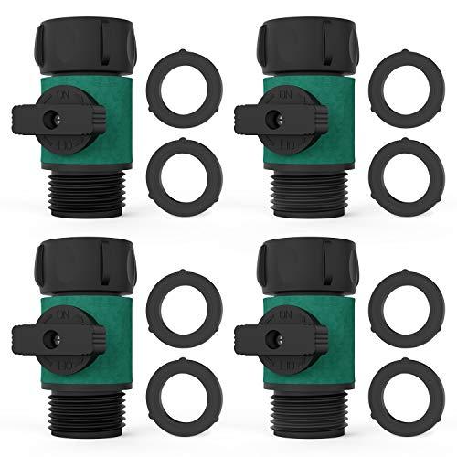 Asgens Garden Hose Shut Off Valve Garden Hose Turn Off Valve Garden Hose Connector Set with Rubber Washers 8 Pc Valve 4 Pc Standard 34 Thread