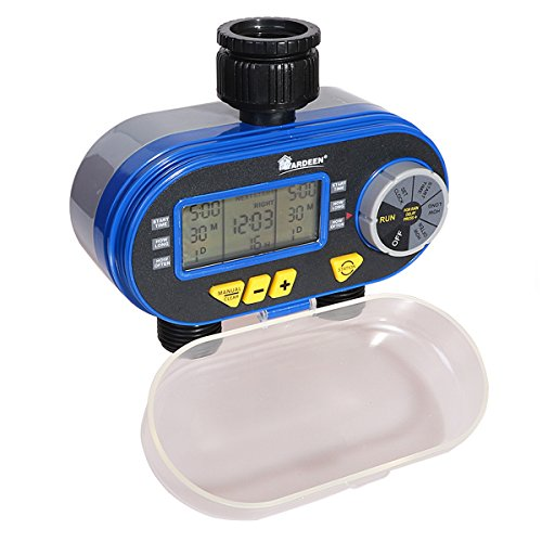 Yardeen Big Screen Electronic Dual-valve Digital Water Timer Hose Irrigation Sprinkler System with Rain Delay Feature Color Blue