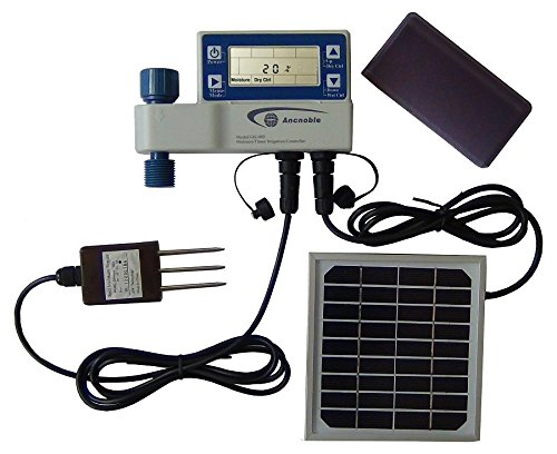 Ancnoble GG-005C-1 Irrigation Controller with Moisture Sensor and Solar Powered 95 by 3 by 7-Inch White and Blue