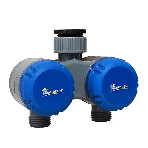Yardeen Mechanical Water Sprinkler Timer Two Outlet Garden Hose Controller Color Blue