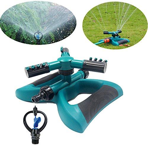 Garden Sprinkler Automatic 360 Rotating Adjustable Lawn Sprinkler system Covers up to 3400 sq ft with 80 PSI Water Pressure - Gardening Watering System 1x Trifurcation Sprinkler  1x Sprinkler
