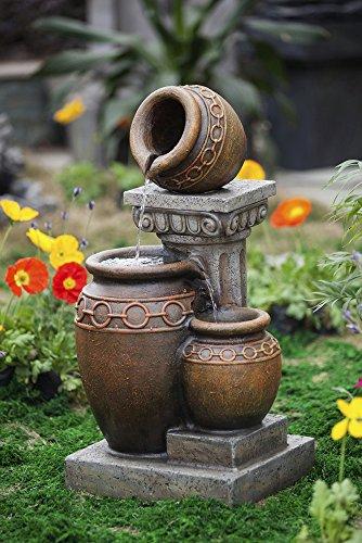 307&rdquo Classic Three Urn Pots And Column Outdoor Patio Garden Water Fountain