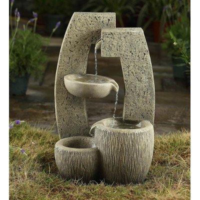 Polyresin and Fiberglass Tier Bowl Water Outdoor Garden Fountain Urn