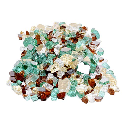 Skyflame 10-Pound Blended Fire Glass for Fire Pit Fireplace Landscaping 12-Inch Gold Light Green Copper Reflective