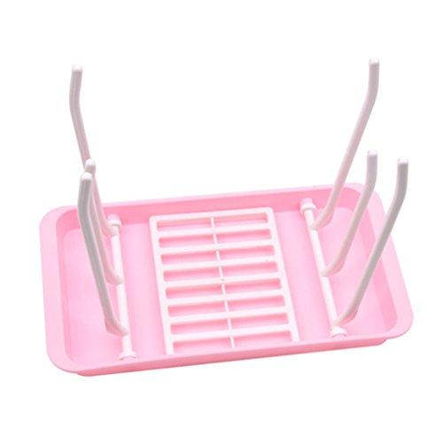 Edtoy Modern Kitchen Cup Dish Drying Racks Collapsible Drain Rack Feeding bottle water control bracket Pink