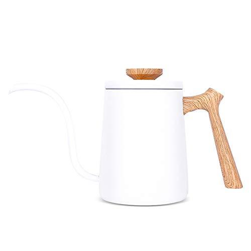 Ybriefbag Pour Over Coffee Kettle 600ML Pour Over Coffee Kettle Trickle Filter Coffee Brewing Pot Stable Water Control Gooseneck Spout Color  White Size  24x138cm