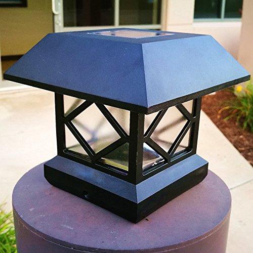 2pcs-PackFit 5 Post Sizes Black Vinyl Bright Sturdy and Big Solar Post Lights Sogrand Solar Lights Outdoor Solar Post Cap Lights