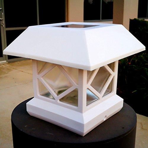 2pcs-PackFit 5 Post Sizes White Viny Brightl Sturdy and Big Solar Post Lights Sogrand Solar Lights Outdoor Solar Post Cap Lights