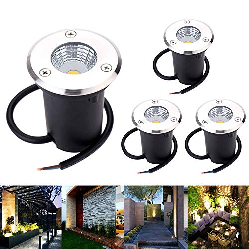 Landscape Lights ALOVECO LED Well Lights 3W 12V-24V Ground Lights IP67 Waterproof Low Voltage Landscape Lighting Spotlight for Driveway Deck Step Garden Lights Outdoor Warm White 4Pack