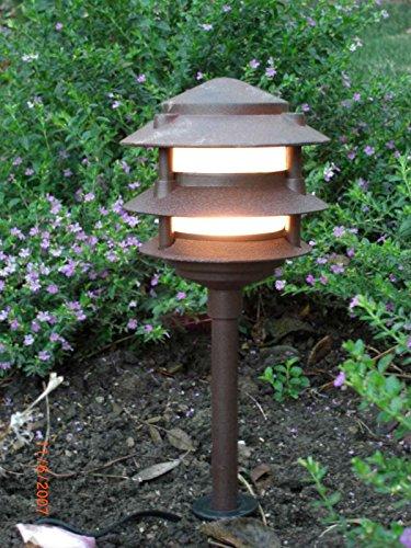 LED 3Watt Low Voltage Landscape Lighting - Pagoda Path Light in Rust Finish