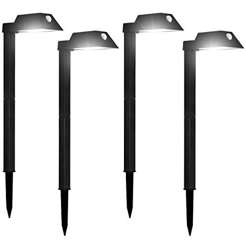 Morvat LED Motion Sensor Outdoor Pathway Lights Landscape Lights Solar Path Lights Motion Sensor Path Lights Walkway Lights 110 Lumens Adjustable Waterproof Black Pack of 4