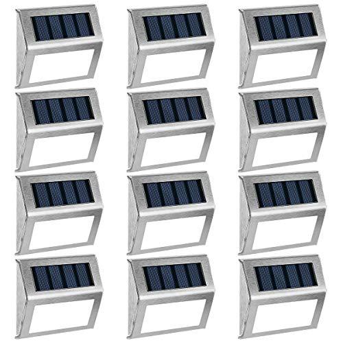 GIGALUMI 12 Pack Solar Deck Lights3 LED Solar Stair LightsOutdoor LED Step Lighting Stainless Steel Waterproof Led Solar Lights for StepStairsPathwayWalkwayGarden-Cold White