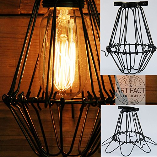 Industrial Vintage Style Black Hanging Pendant Light Fixture Metal Wire Cage  Lamp Guard Adjustable Cage Openings