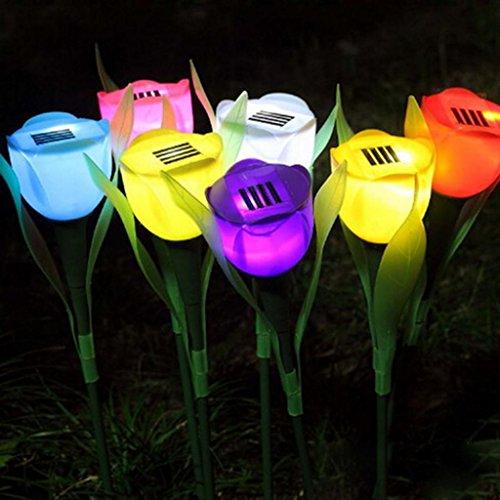 HuntGold 1X Tulip Flower Shape Solar Powered LED Lamp Outdoor Yard Garden Lawn Path Lightingpurple