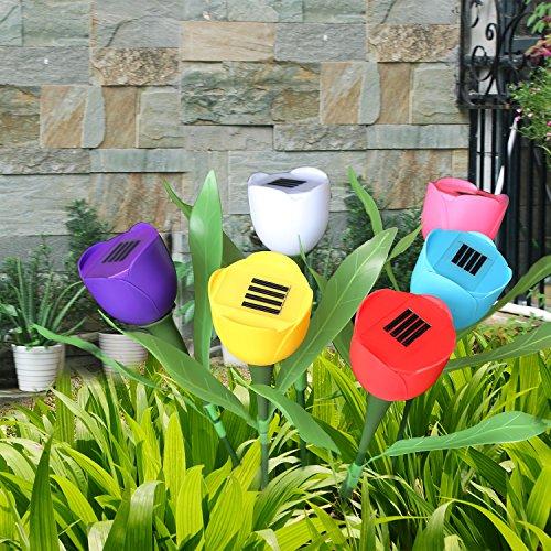 SolarEK Tulip Flower Shape Solar Powered LED Lamp Outdoor Yard Garden Lawn Path Lighting 6 Lights