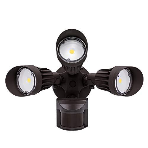 JJC LED Security Lights Motion Sensor Flood Light Outdoor30W250W Equiv3000LMIP65 Waterproof5000K-Daylight White DLC ETL Listed Outdoor Lighting for Garage Yard Garden Porch Brown