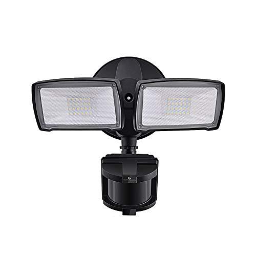 LED Security Lights 28W 3000LM Motion Sensor Light Outdoor GLORIOUS-LITE Super Bright 2 Head Outdoor Flood Light 5500K-6000K IP65 Waterproof ETL Certified for Garage Yard Porch - Black