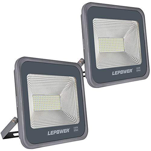 LEPOWER 2 Pack 100W LED Flood Light 10000lm Super Bright Work Light with Plug 6000K White Light IP66 Waterproof Outdoor Floodlight for Garage Garden LawnBasketball CourtPlayground