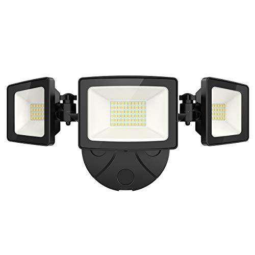 Onforu 50W LED Security Light 5000LM Super Bright Outdoor Flood Light IP65 Waterproof 5000K Daylight White 3 Adjustable Heads Wall Light for Garage Patio Garden Porch Yard