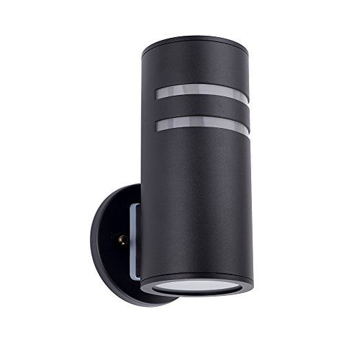 ALHAKIN IP64 Waterproof Cylinder Porch Light Outdoor Lighting Wall Sconce Black Painted Lamp C-UL US Listed