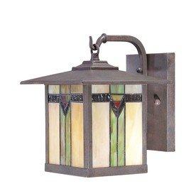 Allen Roth Tiffany Style Art Glass Aged Bronze - Outdoor Porch Light  Wall Lantern