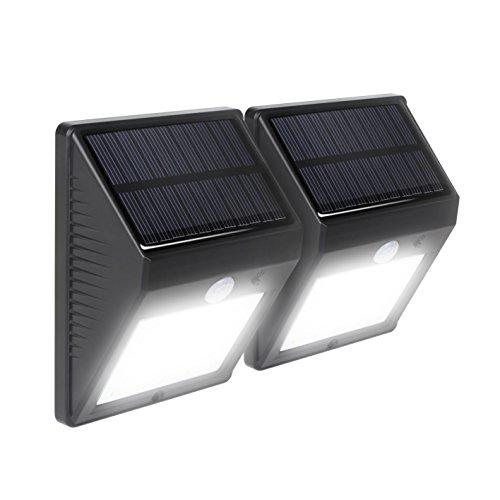 HueLiv Solar Powered Motion Sensor Wall Light20 LED IP64 Waterproof Outdoor Porch Lightfor EntranceGardenGaragePatio Pack of 2