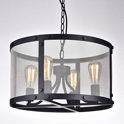 CLAXY Ecopower Vintage Mesh Chandelier 4 Lights Pendant Lighting Fixture