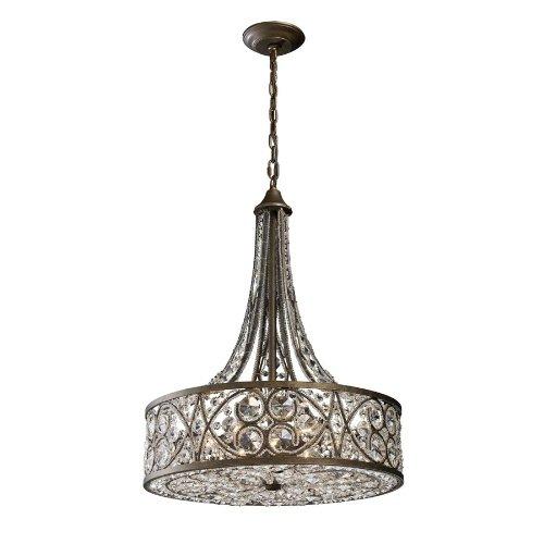 Elk Lighting 11288-6 Amherst 6 Light Crystal Pendant Lighting Fixture Antique Bronze Polished Crystal B11841