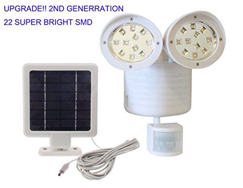 2nd Generation Solar Powered Motion Sensor Light 22 SMD Garage Outdoor Security Flood Spot Light - White