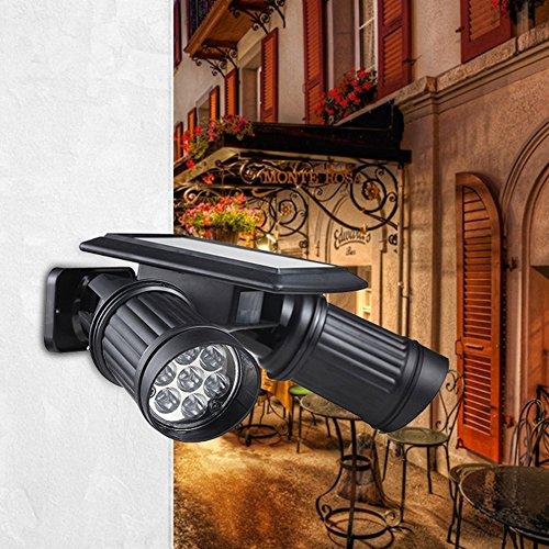 Hapway Solar Powered Spot Light 14 Led Dual Head Spotlight With Pir Motion Sensor Trigged Wall Security Light