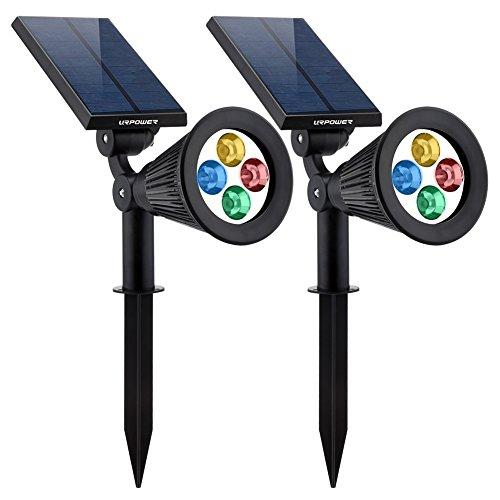 Urpower Solar Lights 2-in-1 Solar Powered 4 Led Adjustable Spotlight Wall Light Landscape Light Brightamp Dark