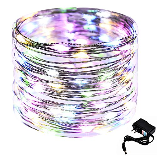 CrazyFire 33ft10m Starry String Light 100 LED Copper Wire Star Fairy Light DIY Home Decorative Light with DC Power Adapter for Indoor Christmas Halloween Party Wedding Patio Garden-Multicolor Light