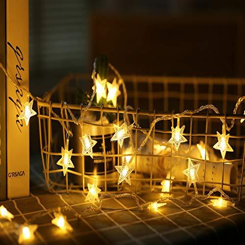 E-lishine 19ft 40LED Stars String Light Battery OperatedDecorative Stars Lights for Home Party Christmas Wedding Garden 19 Warm White