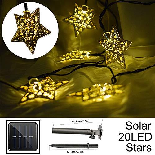 Hann Solar LED Star String Lights 12ft 20LED Decoration Light for Garden Yard Home Landscape Festival Halloween Christmas Party Wedding Tree 20 LEDs Stars Warm White