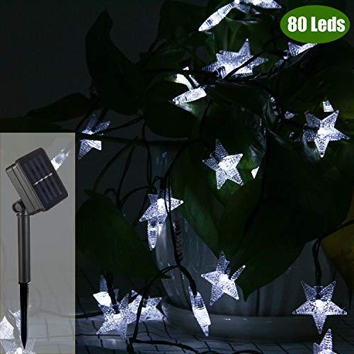 ZOUTOG Solar Star Lights 40ft12m 80 LED White Star String Lights Waterproof Outdoor Solar Lights for HomeYardPatioGarden