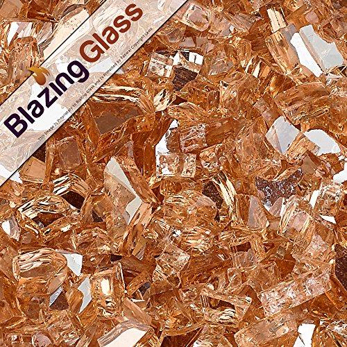 Blazing Fireglass 10-pound Reflective Fire Glass With Fireplace Glass And Fire Pit Glass 14-inch Champagne