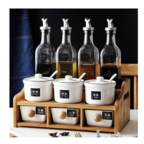 CQIANG Household Kitchen Combination Ceramic Glass Seasoning Jar Set Design  G